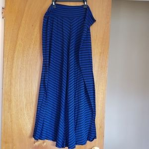 Women's Stripped Blue & Black Maxi Skirt